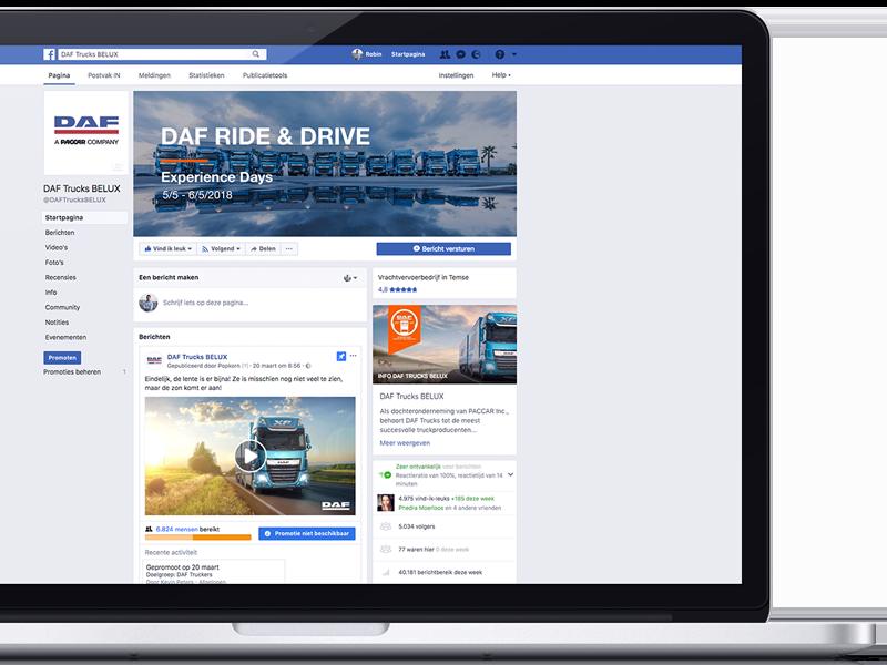 DAF Facebook pagina in MacBook