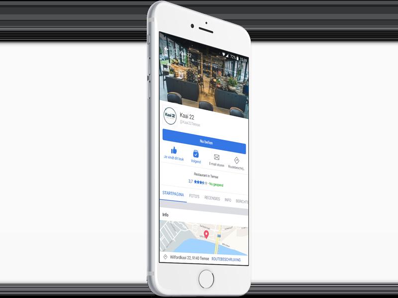 Kaai22 facebook screen in mobile