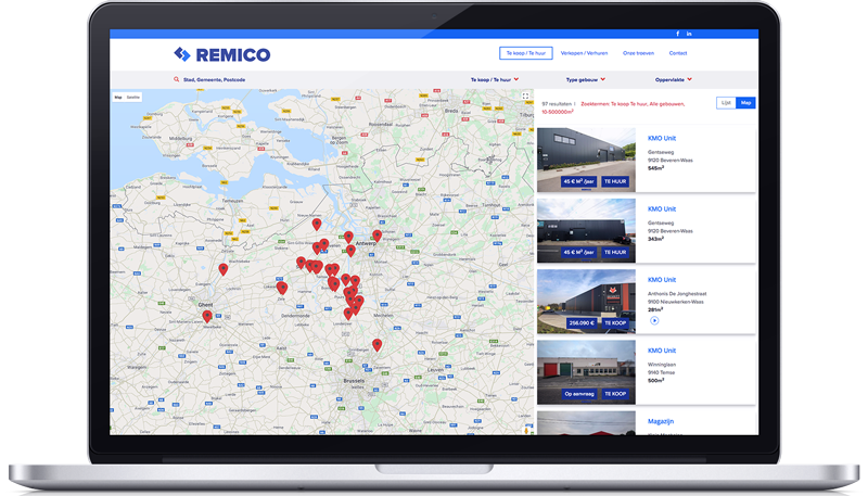 Remico website pagina in MacBook