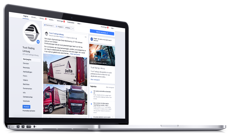 Truck Trading Group pagina in MacBook
